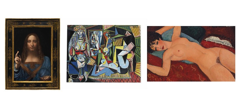 "LEONARDO DA VINCI ""Salvator Mundi"", PABLO PICASSO ""Les femmes d'Alger (Version 'O')"" y AMEDEO MODIGLIANI ""Nu couché"". Imágenes vía: © Christie's"