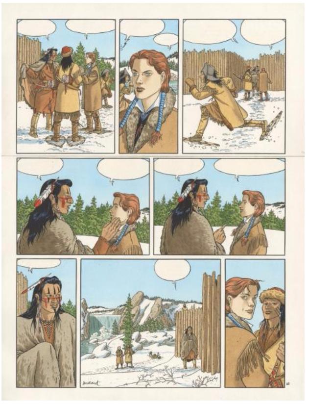 André Juillard (né en 1948), Plume aux Vents, Beau ténébreux Encre de Chine et aquarelle de couleur pour la planche 10 de l'album du tome 3 de la série