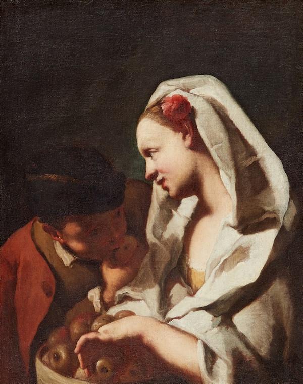 Domenico Maggiotto (1713 Venedig - 1794 Venedig) Ung flicka med fruktkorg och dräng, olja, 72 x 55 cm.