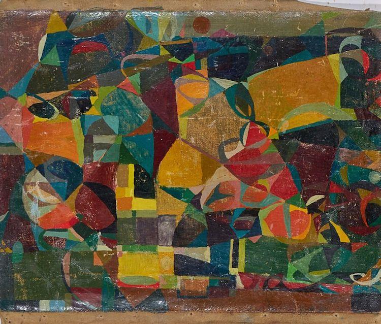 Oljemålning Lasse Stevenfeldt (1930-2014), signerad Lasse S a tergo, komposition, bladets mått: 30x39 cm. Utropspris 2 000 SEK.