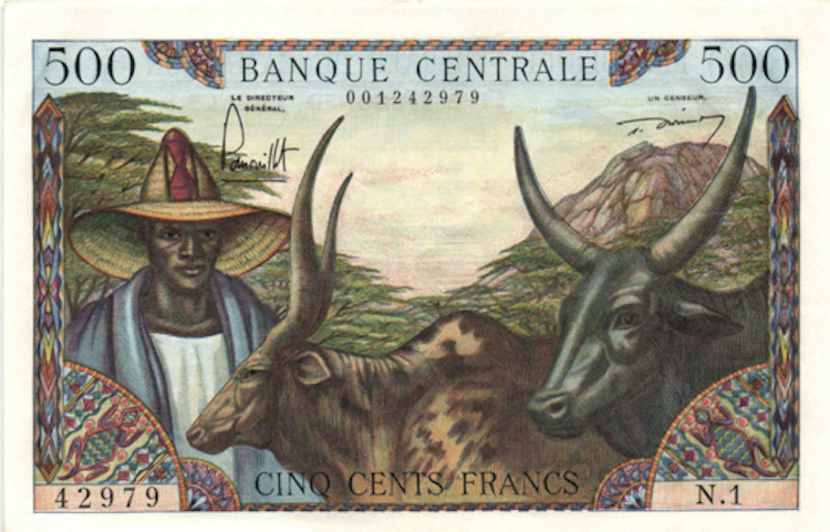 Cameroun - 500 Francs ND (1962). Opening bid $125. Photo via MPO Auctions