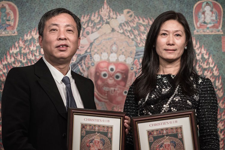 Liu Yiqian och Wang Wei, samlare och grundare till The Long Museum i Shanghai. Foto: Philippe Lopez/afp/getty images