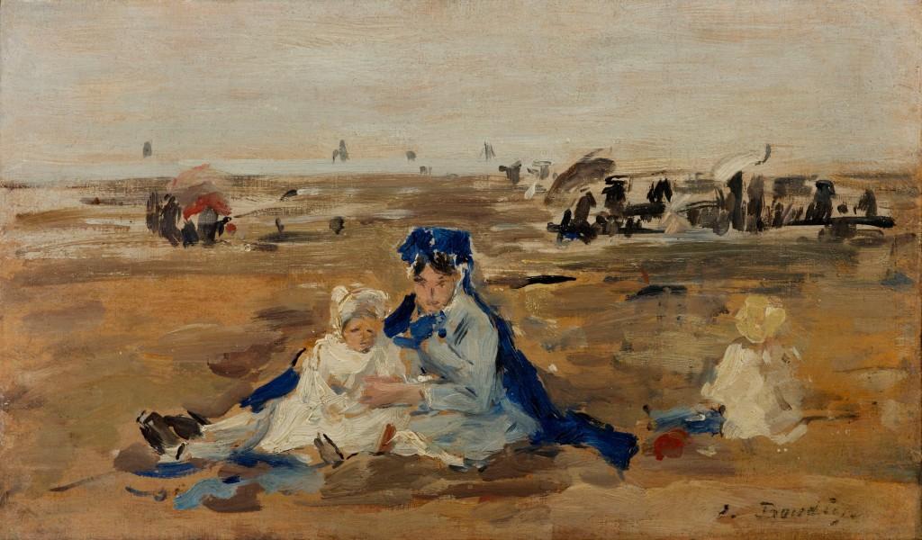 EUGÈNE BOUDIN (Honfleur 1824 - Deauville 1898) - La Nourrice sur la Plage, Öl/Holztafel, 14,5 x 23,5 cm, signiert Schätzpreis: 60.000-80.000 EUR