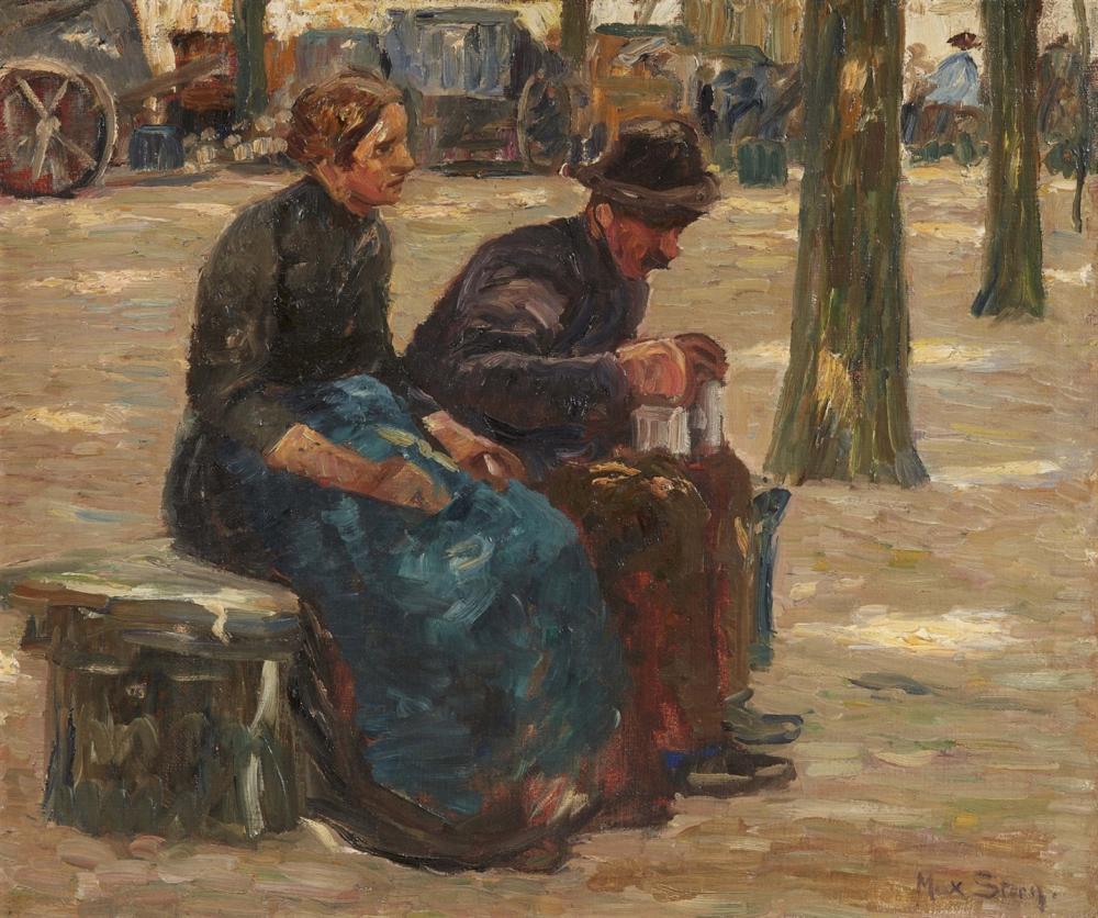 Max Stern (1872 Düsseldorf 1943), Altes Paar auf einer Bank, Öl/Lwd., signiert | Foto: Lempertz