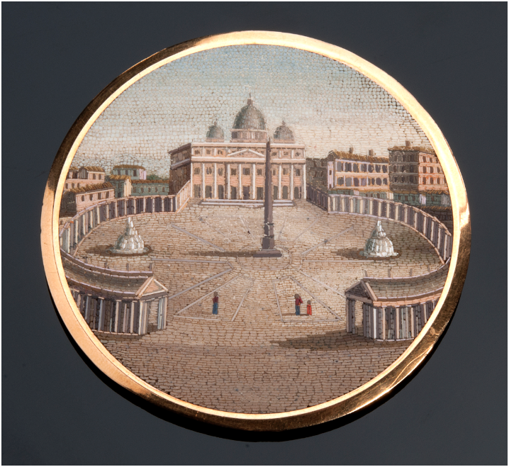 PETOCHI - plaque with micro mosaic of St. Peter's in Rome, tesserae made of glass paste, high quality, D: 55 mm, late 19th century Estimate: 4 600-6 200 EUR