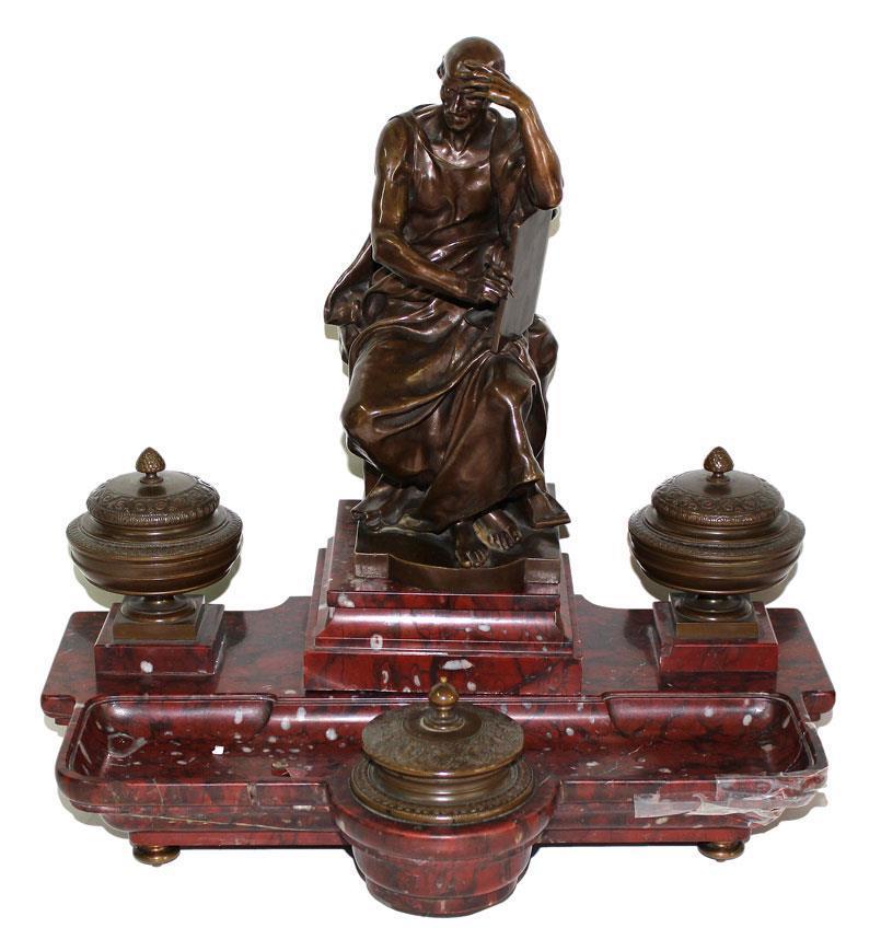 Wohl Darstellung des Samuel Hahnemann auf einer Schreibtischgarnitur, Bronze, Marmor, Gießerstempel A. Collas Reduction Mecanique