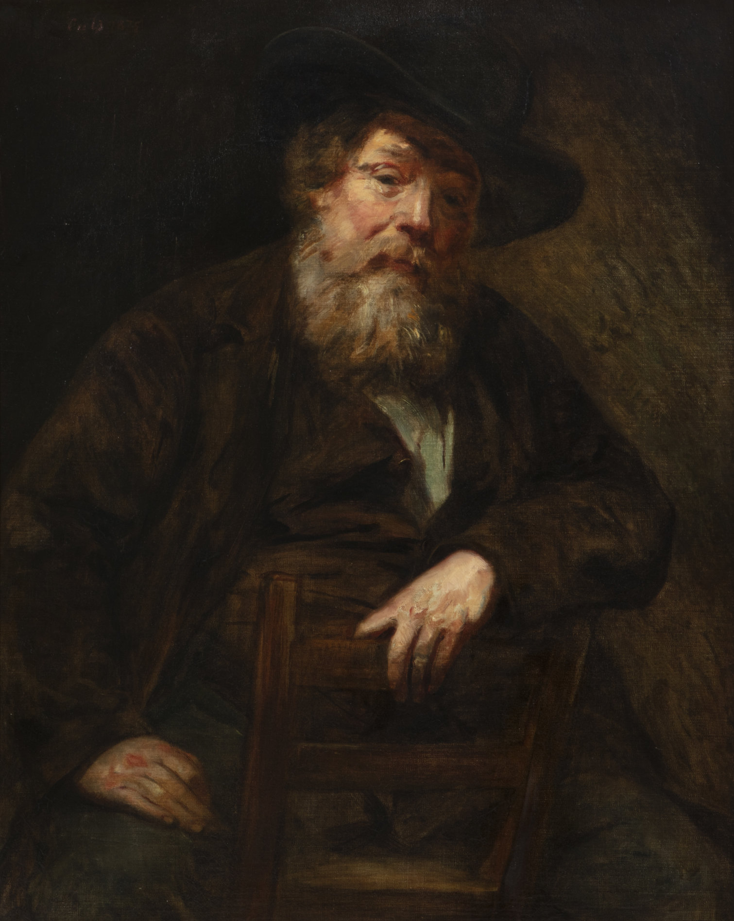 Oil on canvas by Adolphe-Felix Cals (French, 1810-1880), titled Portrait of an Elderly Man with a Beard and a Hat, signed and dated 'Cals 1875' upper left (est. $2,000-$3,000).