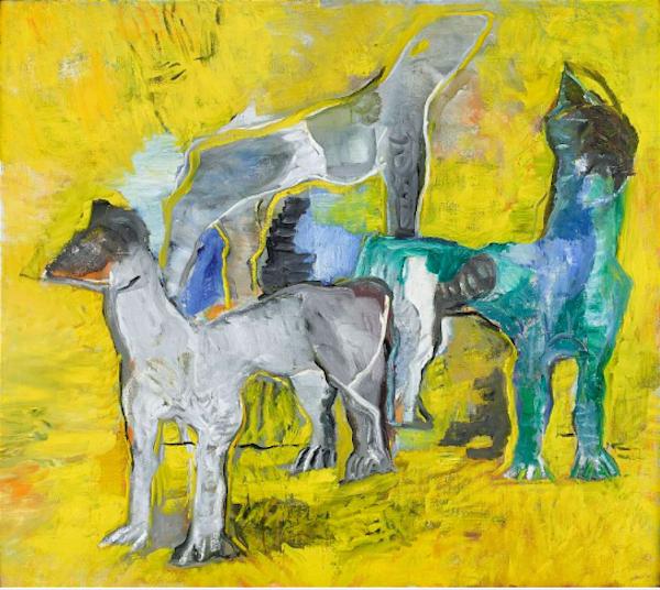 """Staffan Hallströms """"Ingens hundar I"""" är ett ikoniskt verk som finns i flera versioner. Enligt honom själv är målningen sprungen ur Staffan Hallströms egen skilsmässa"""