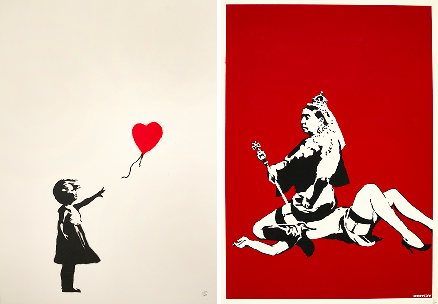 Links: Banksy, Girl with Balloon, 2004 Rechts: Banksy, Queen Vic, 2003 | Fotos: Sotheby's
