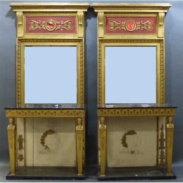 Paar Empirekonsolen mit Spiegelaufsatz und Marmorplatte, teilw. gefasst und vergoldet, 292x90x38 cm, Frankreich um 1800 Taxpreis: 1.250 EUR