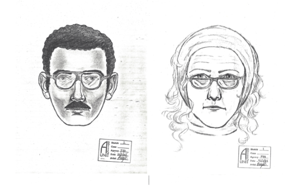 Polisens fantombild från 1985 över de två misstänkta tjuvarna.