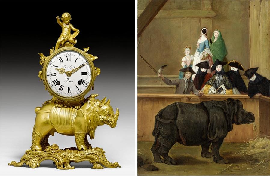 "Links: Louis XV-Pendule ""au rhinoceros"", Paris 1740/50 Rechts: Pietro Longhi, Ausstellung des Rhinozeros, 1751, National Gallery, London | Abb.: Wikipedia"