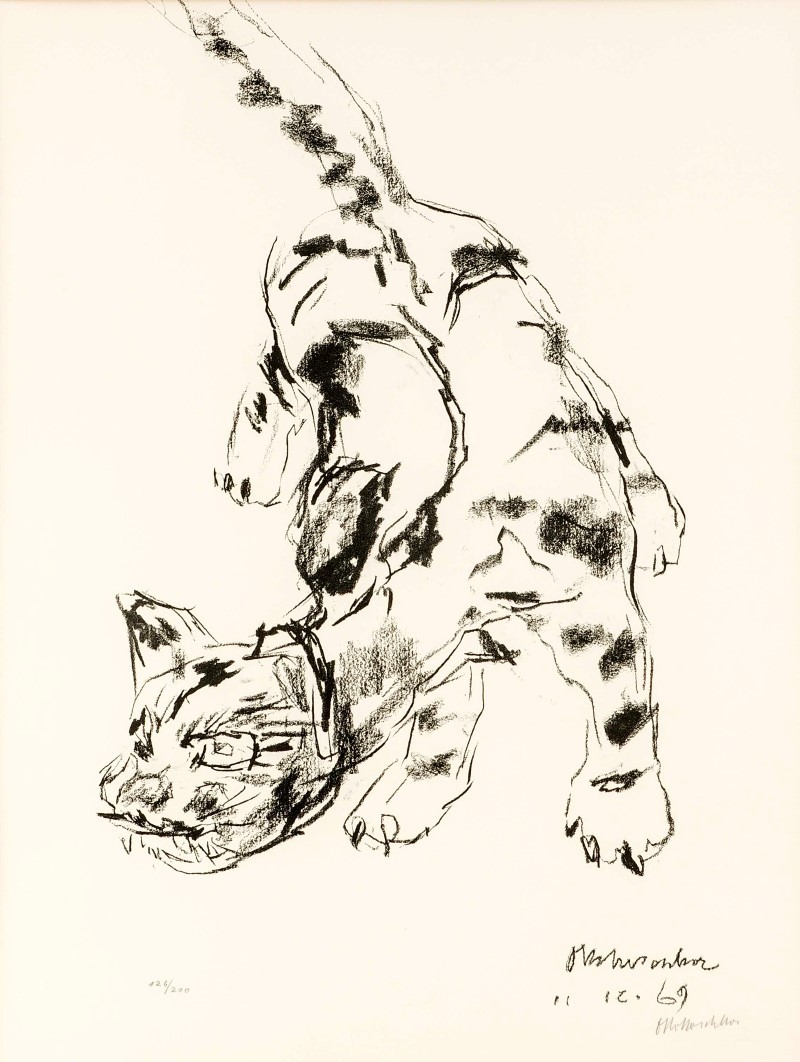 Oskar Kokoschka (1886-1980). Tiger cat, lithograph on Arches Vélin paper, 1969, signed lower right corner, left no. 126/200, with the blind stamp 'Cercle Graphique Européen', 60 x 46 cm, framed with passe-partout 92 x 76 cm. Estimate: $1,000