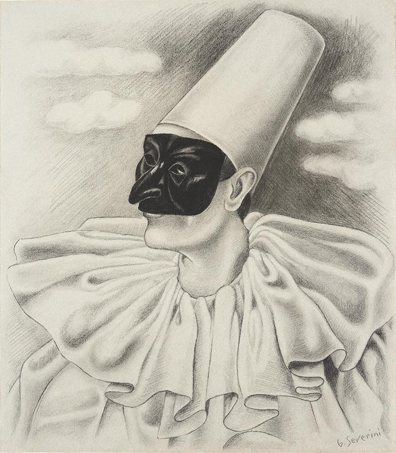 GINO SEVERINI. Cabeza de Polichinela. Carboncillo sobre papel (c. 1922-1923). Firmado