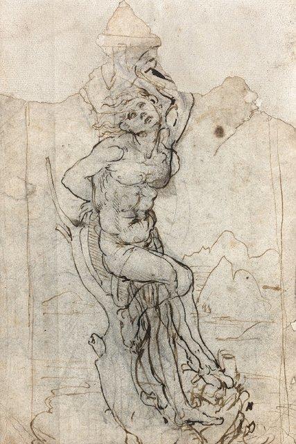 Léonard de VINCI (Vinci 1452 – Cloux 1519 ) Recto: Etude pour un Saint Sébastien dans un paysage Image: Tajan