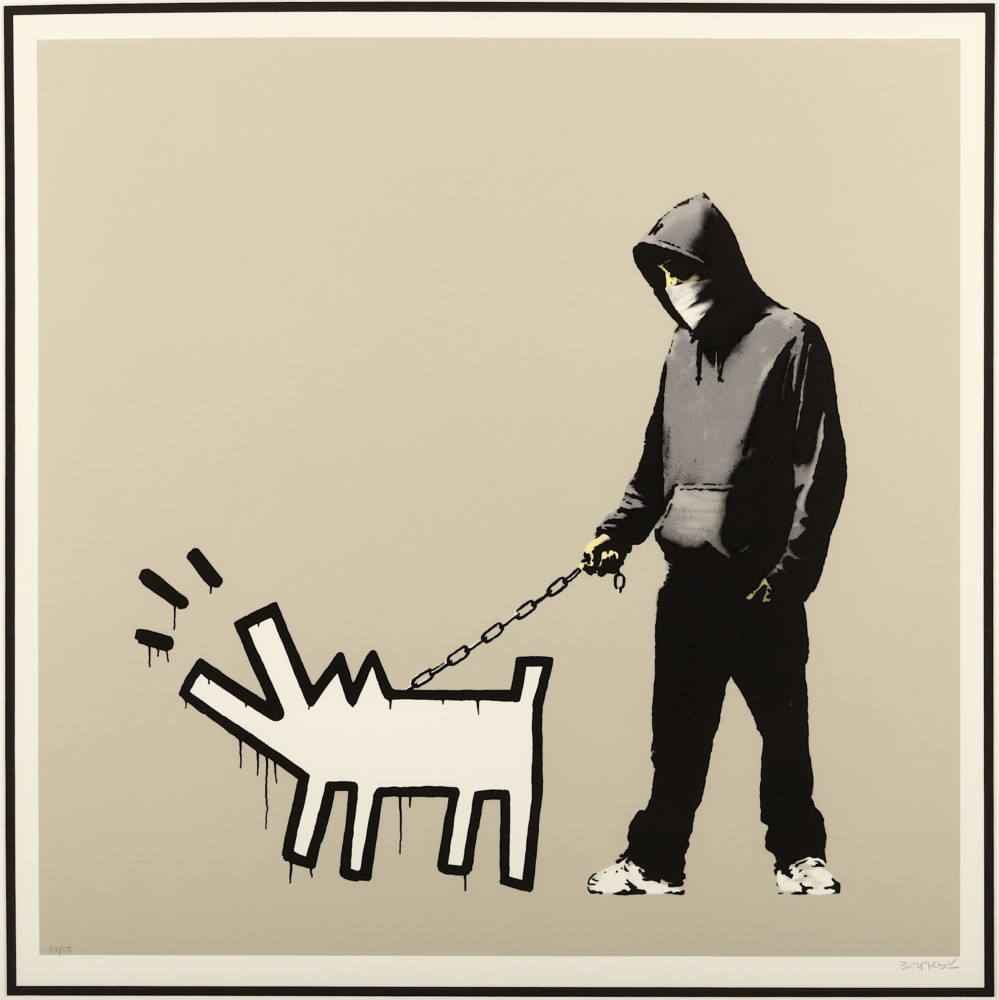 Banksy, Choose Your Weapon (Warm 'Queue Jumper' Grey), 2010. Photo: Chiswick Auctions