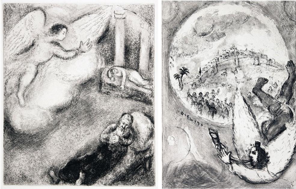 """MARC CHAGALL (1887 Witebsk - 1985 Saint-Paul-de-Vence) - Zwei original Radierungen zur """"Bible"""", 1956"""