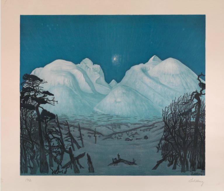"""Harald Sohlberg """"Vinternatt i fjellene"""" 1917. Utrop: 200,000-250,000 NOK."""