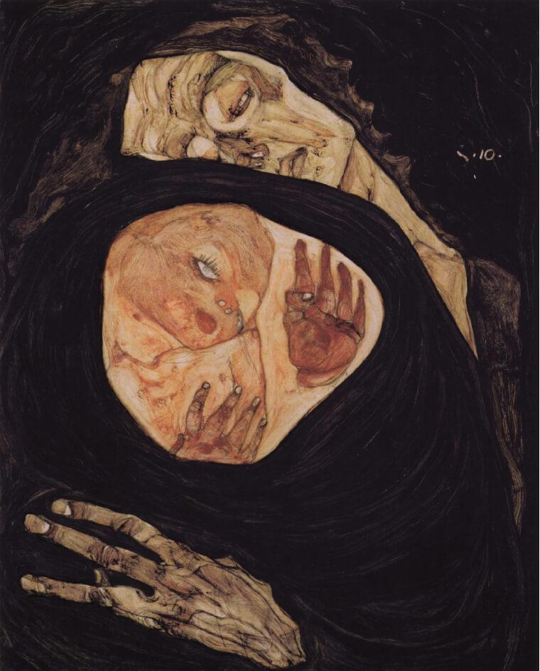 Egon Schiele, Mère morte I, 1910, via Carredartistes