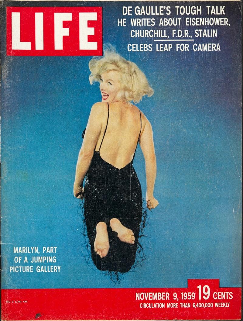 """Portada de LIFE con el """"salto"""" de Marilyn Monroe (1959). Musée de l'Elysée © 2016 Philippe Halsman Archive / Magnum Photos"""