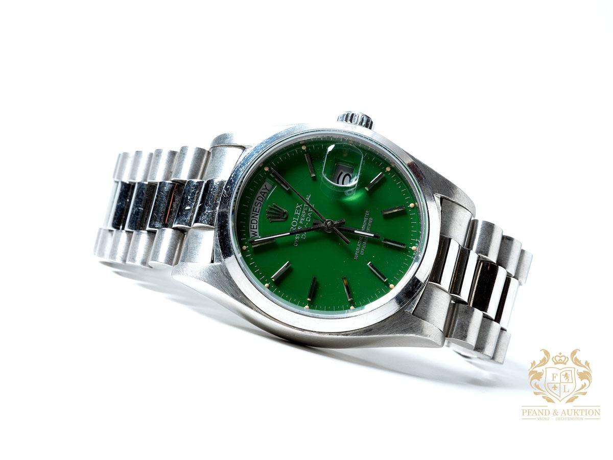 Rolex Day-Date platinum with green Stella dial, ca. 1978
