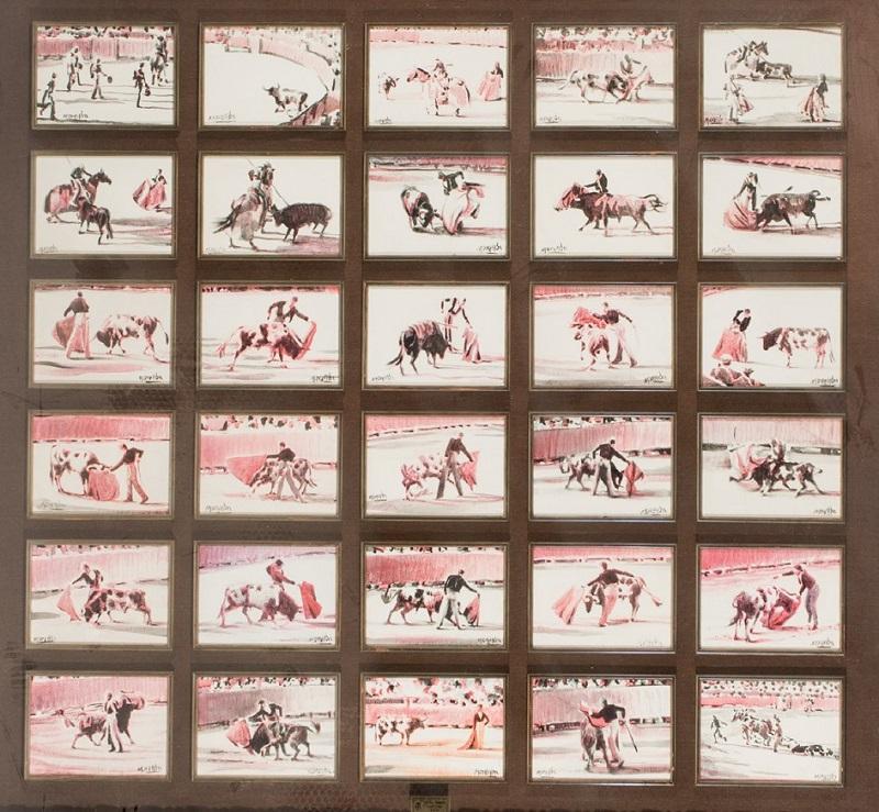 """SANTIAGO MARTÍN, El Viti. """"Tauromaquia"""". 30 pinturas al óleo en tricromía (1988)"""