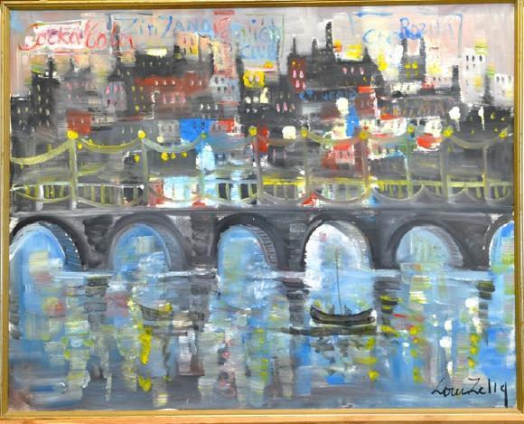 Louis Zelig 1922-1993 stadsmotiv med kanal och båtar, stor oljemålning duk, signerad, 123x96. Utrop: 800 SEK. Västra Auktionsverk