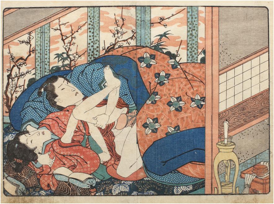 UTAGAWA KUNIMARU - Shunga with cherry blossoms, Yamato Shikari No Tamazusa series, Nishiki-e technique On sale at Artmark