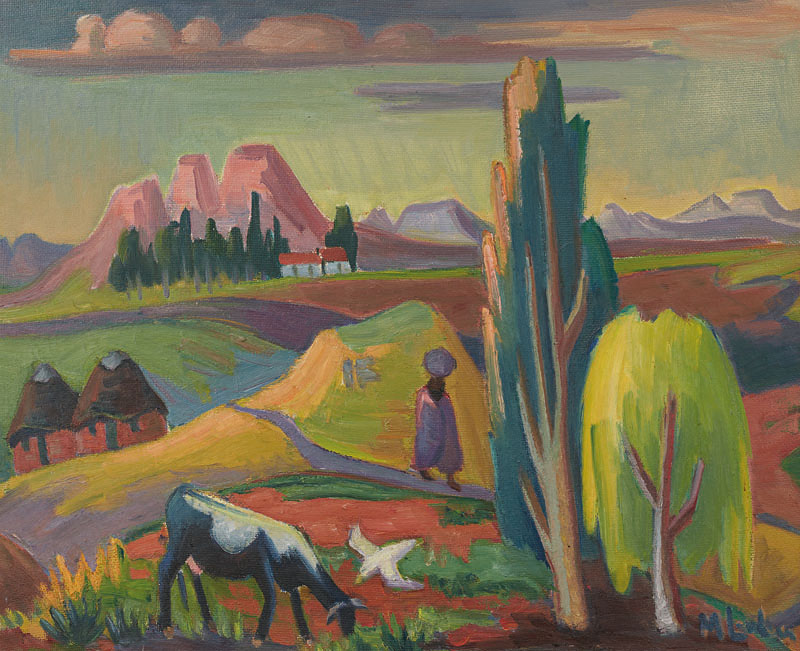 MAGGIE LAUBSER (1886-1957) - Landscape with Huts, Tree, Figure, Cow and a Bird, Öl/Platte, signiert