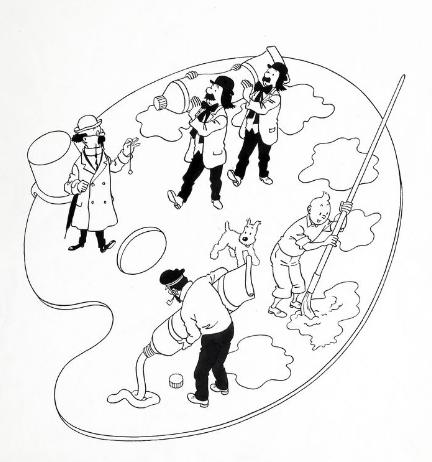 Hergé Illustration à l'encre de Chine pour la couverture de l'album à colorier de grand format publié aux Editions Casterman en 1957 Banque Dessinée