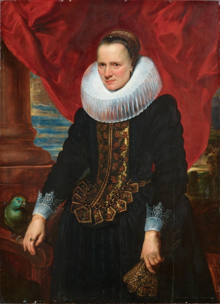 Anthonis van Dyck, 'Portrait of a Noble Person with a Parrot', oil on wood. Photo: Dorotheum