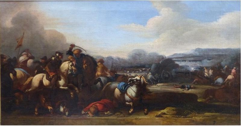 JACQUES COURTOIS gen. LE BOURGIGNON (1621 St. Hippolyte - 1675 Rom) - Schlachtendarstellungen mit Reiterstaffagen, Öl/Lwd., je 51,5x96,5 cm Taxpreis: 6.500 EUR