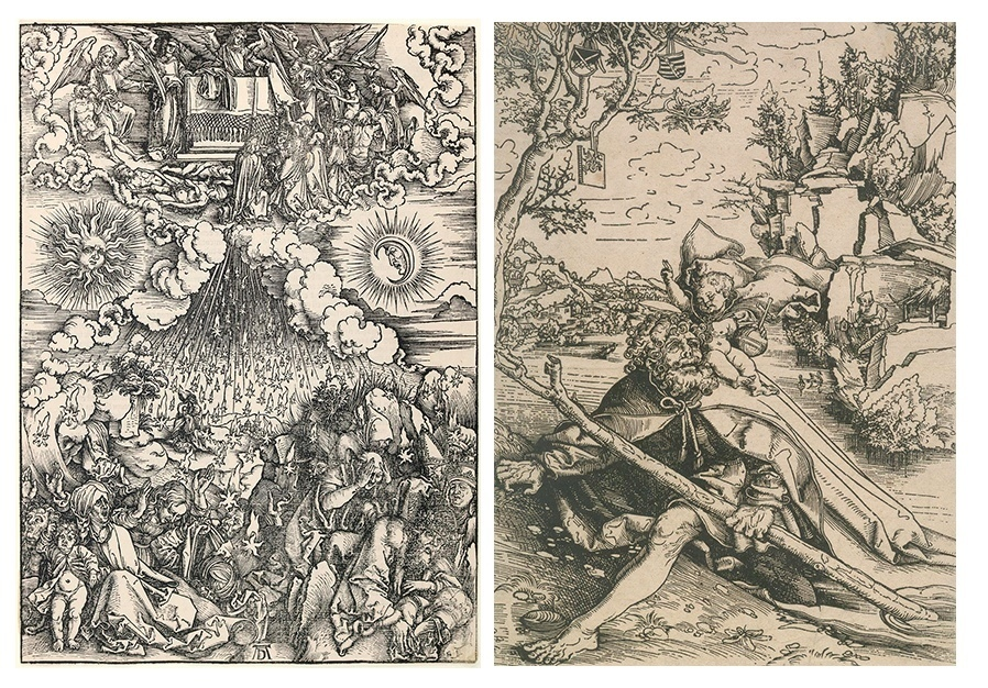 Left: Albrecht Dürer, 'The opening of the fifth and sixth seals IV. Figure of the Apocalypse', 1498. Right: Lucas Cranach the Elder, 'St. Christopher', 1506. Photo: Kiefer