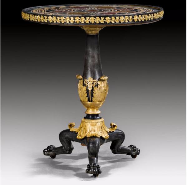 Bord försett med lejontassar, empire, Paris ca 1815/25. Bordskiva från Italien ca 1800. På auktion hos Koller