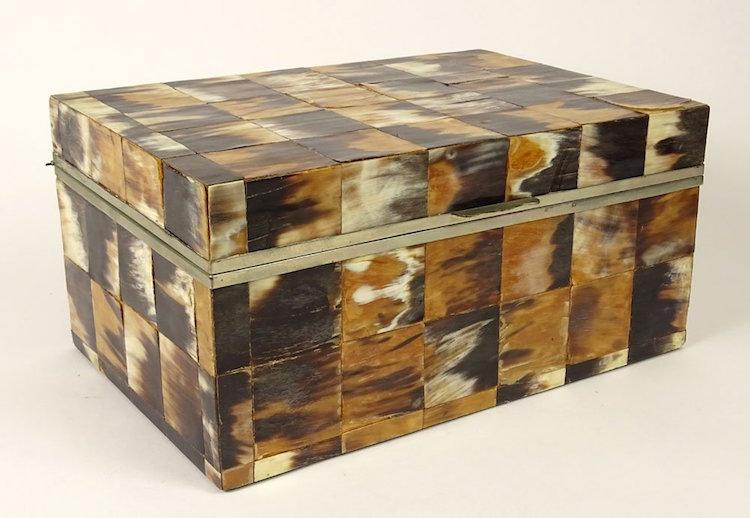 Circa 1980's Karl Springer Horn Covered Box. Estimate $600 – $800. Photo via Kodner Gallery