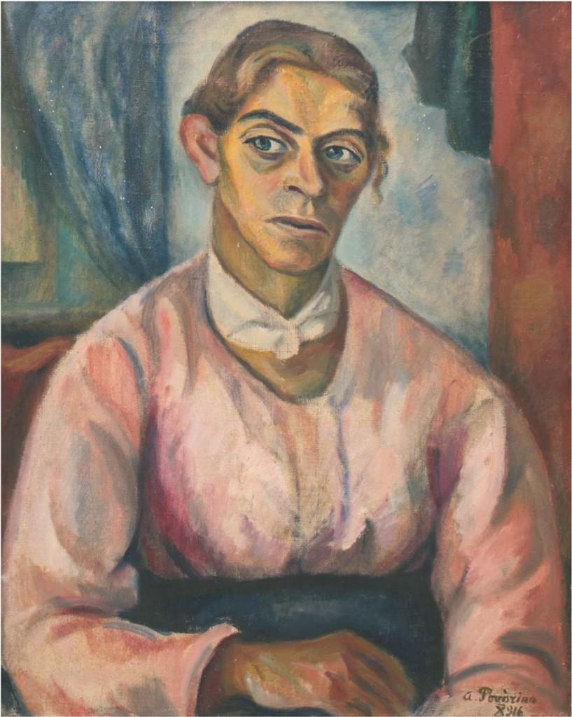 ALEXANDRA POVORINA (1885-1963) - Portrait einer sitzenden Frau, Öl/Lwd., 65,5x50,5 cm, signiert und datiert, 1916 Limitpreis: 2.800 EUR