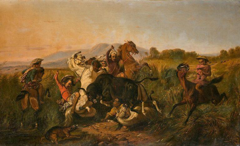 RADEN SALEH (1811-1880) - Jagd auf einen wilden Stier (Bateng), Öl/Lwd., signiert und datiert, 1855