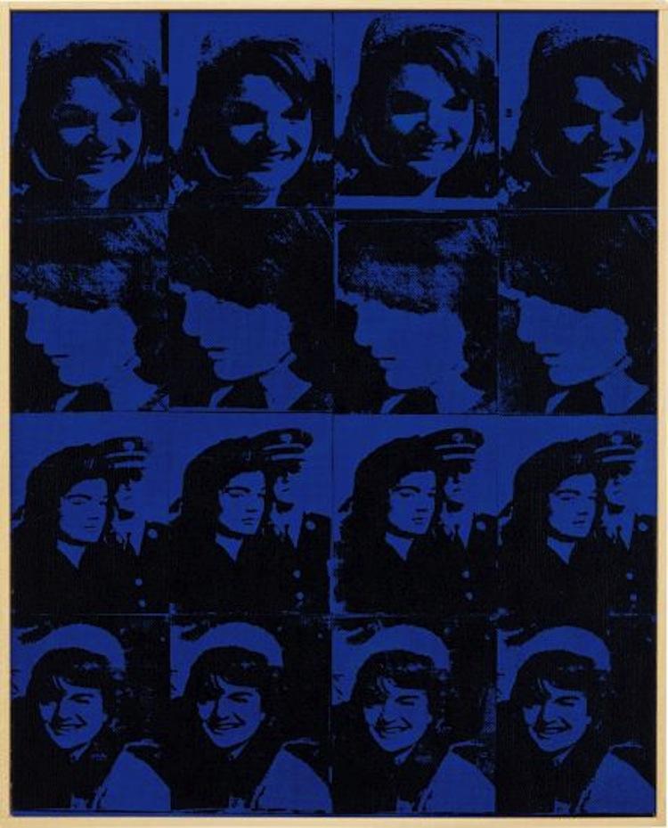 """Det är inte ovanligt att andra konstnärer imponerats och använt Andy Warhol och hans konstnärliga tankar i egen produktion. Här är det Richard Pettibone med verket """"Andy Warhol, 'Sixteen Jackies', 1964, 1996"""". Utropet är 120-180 000 dollar"""