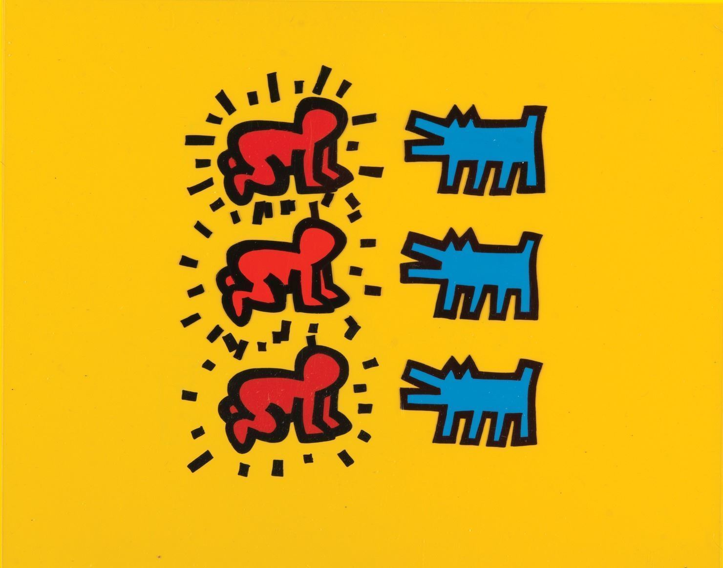 "Keith Haring Foundation produktion av ""Babies and Dogs"" från Sesame Street. (Sesame Street/Keith Haring Foundation, 1991)"