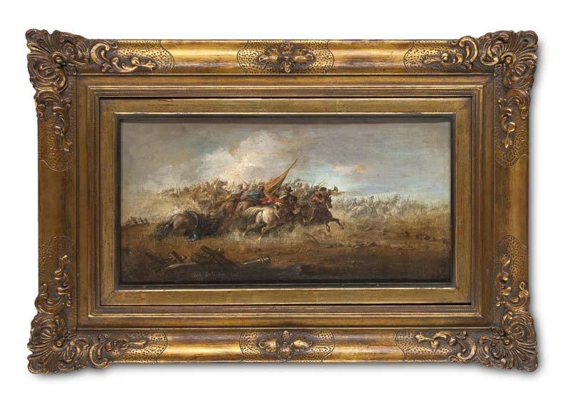 LUIGI LOJACONO - Schlachtenszene (Battaglia), Öl/Lwd., 18 x 35,5 cm, signiert und datiert, 1872 Startpreis: 4.800-9.600 EUR