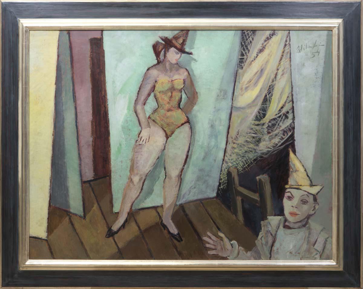WALTER WELLENSTEIN (1898 Dortmund-1970 Berlin) - Kabarett, Öl/Hartfaser, betitelt, signiert und datiert, 1954