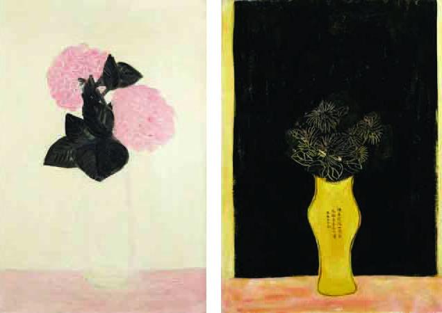 À gauche: Sanyu, Deux gros hortensias roses, dans un vase blanc, février 1931. Adjugé 4 080 000€ le 2 juin 2015 Sanyu, Fleurs dans un vase portant une inscription, années 1930. Adjugé 4 080 000€ le 2 juin 2015