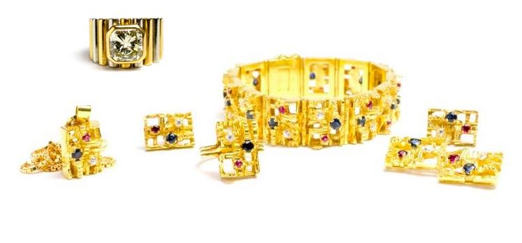 Oben: Damenring, GG und WG mit gelbgetöntem Diamant (3,30 ct) Unten: Schmuckset, GG mit Brillanten, Rubinen und Saphiren