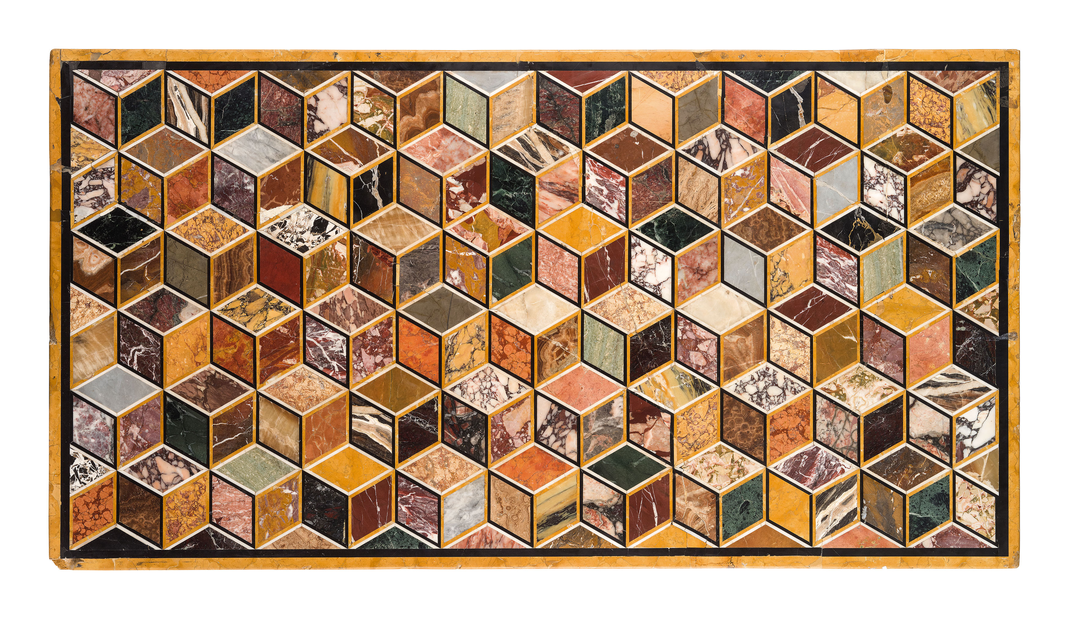 A table top with a three-dimensional pattern estimated at £8 600-12 825 reached £23 400.