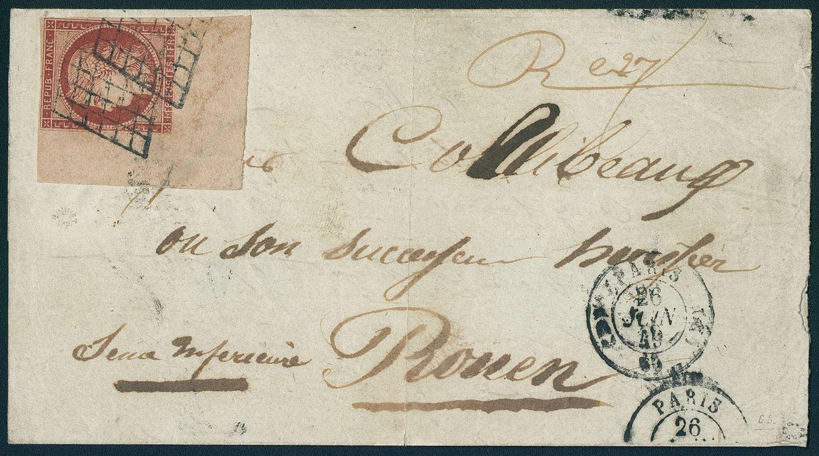 Frankreich - 1 Franc Vermillon, rotbraun, auf Brief