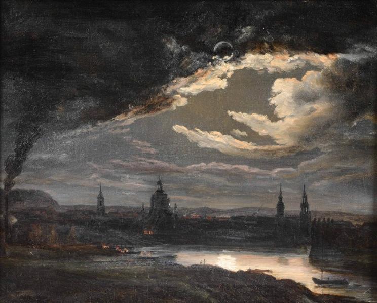 JOHAN CHRISTIAN CLAUSEN DAHL (1788 Bergen - 1857 Dresden) - Dresden bei Mondschein, Öl/Lwd., ca. 21,5 x 26,5 cm, Reste einer Signatur Startpreis: 12.500 EUR
