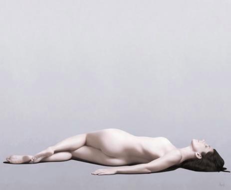 Reclining nude Olja på duk.