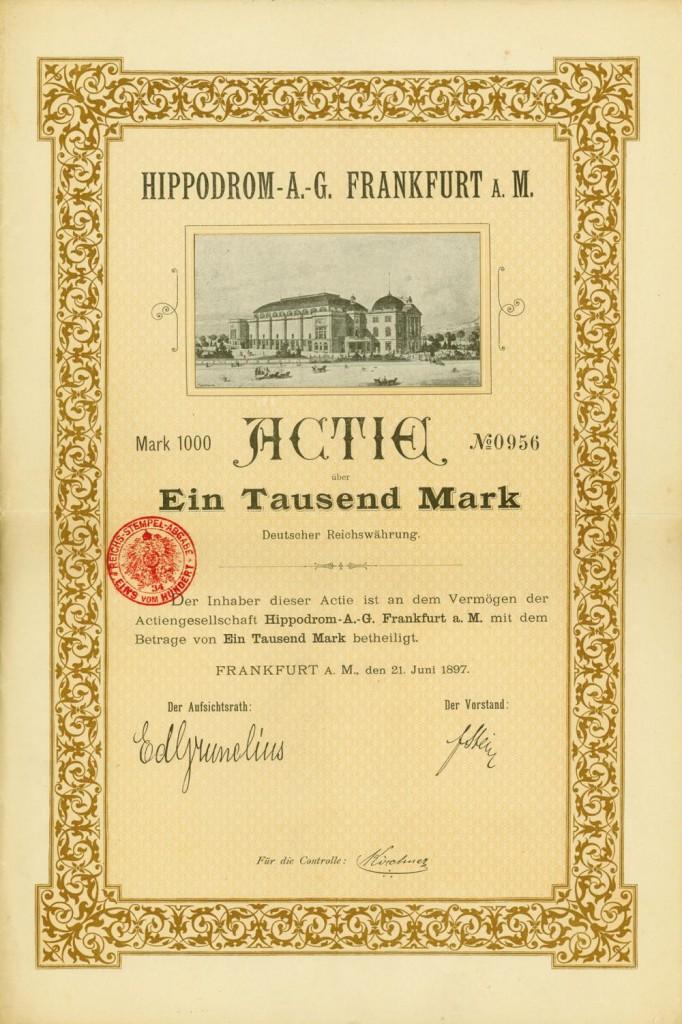 Hippodrom-A.-G. Frankfurt a. M., Frankfurt am Main, 21.06.1897, Gründeraktie über 1.000 Mark, #956