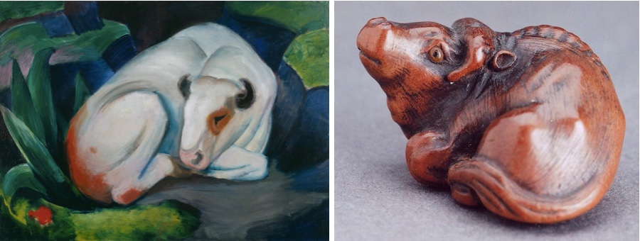 Links: FRANZ MARC (1880-1916) - Der Stier, 1911, Solomon R. Guggenheim Museum, New York Rechts: Netsuke aus Holz © Michael R. Bernstein