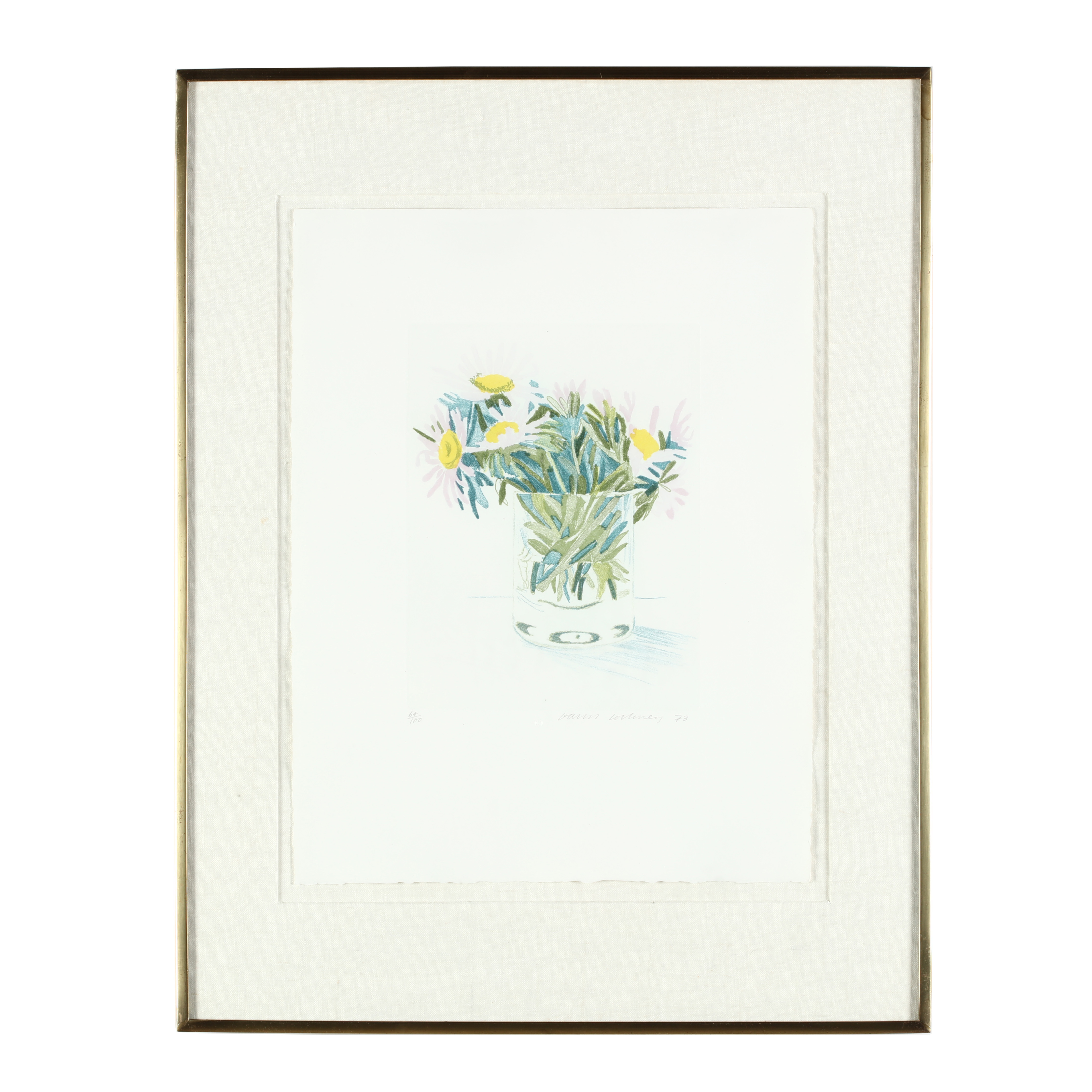 Marguerites, David Hockney. 1973, etching and aquatint in colors.
